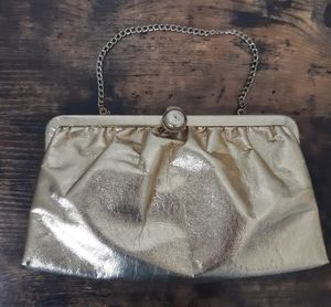 Vintage 1950s Admiral Gold Lame Covertible Clutch